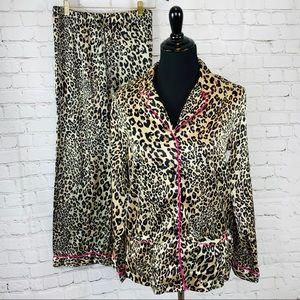 Victorias Secret Satin Pajama Leopard Print 2 pc S